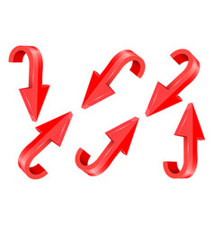 Red and down 3d arrows set 3d elements vector