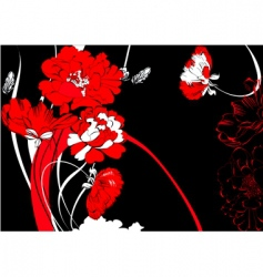 red flowers on black background vector image