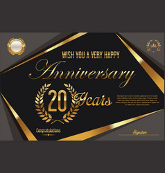 retro vintage anniversary background 20 years vector image