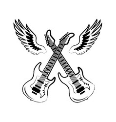 Rock electric guitars wings vector