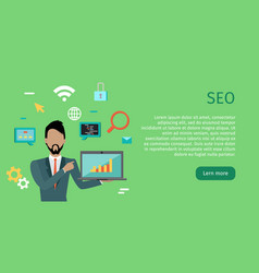seo conceptual web banners in flat style vector image