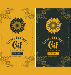 Set labels for refined sunflower oil with curlicue vector