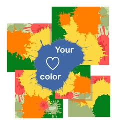 Set of cards with color blots vector image