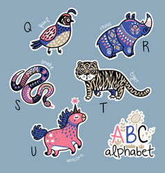 set of cute patch badges with animals alphabet q vector image