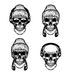 set of human skulls with headphones design vector image