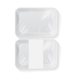 set of white rectangle blank styrofoam plastic vector image