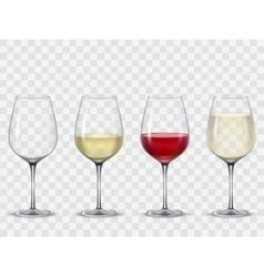 Set transparent wine glasses vector image
