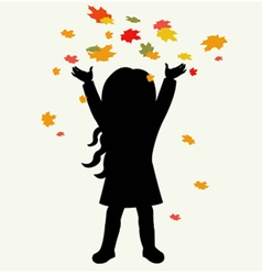 Silhouette girl and autumnal leaves vector