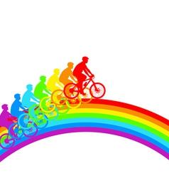 Silhouette of a cyclist a rainbow male vector