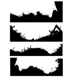 Silhouette set of a demolition site industrial sky vector
