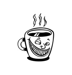 smile coffee cup cartoon vector image