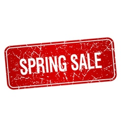 Spring sale red square grunge textured isolated vector
