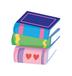 Stacked books literature read learn isolated icon vector