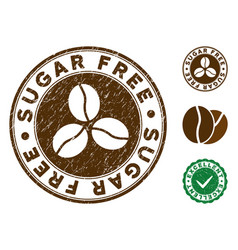 sugar free stamp with scratched texture vector image