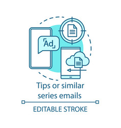 Tips or similar series emails turquoise concept vector