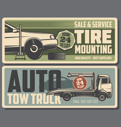 Tire mounting and tow truck service vector