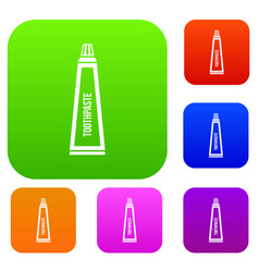 toothpaste in tube set collection vector image