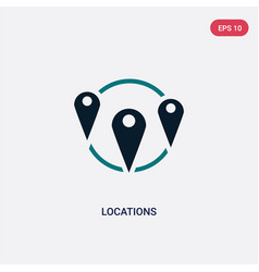 Two color locations icon from maps and flags vector
