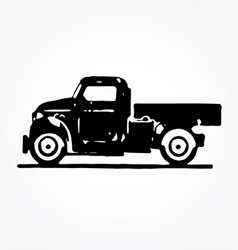Vintage truck side view vector