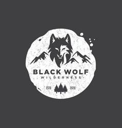 Vintage wild wolf logo vector