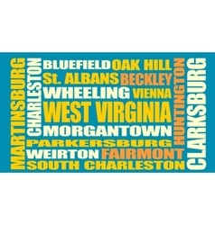 West Virginia state cities list vector