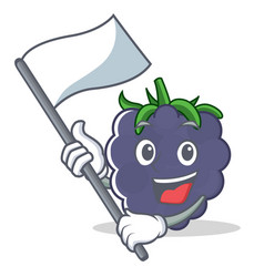 With flag blackberry mascot cartoon style vector