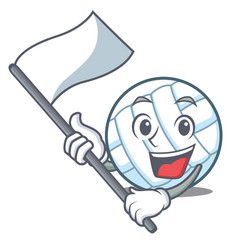 With flag volley ball character cartoon vector