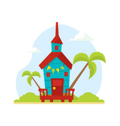 wooden tropical bungalow house on beach travel vector image