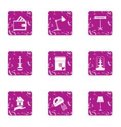 Workstation icons set grunge style vector