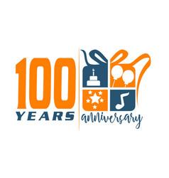 100 years gift box ribbon anniver vector