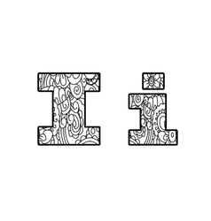 Anti coloring book alphabet the letter I vector image