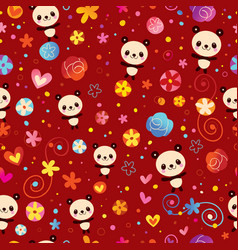 cute panda bears seamless pattern vector image vector image