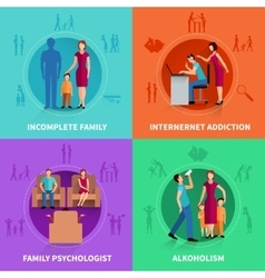 Family Conflict Design Concept Set vector image vector image
