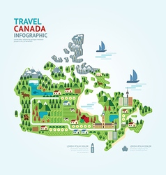 Infographic travel and landmark canada map vector image vector image