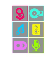 Neon colored flat design music icons vector image vector image