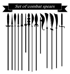Set of silhouettes combat copies vector image