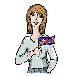 Sketch cartoon of english girl vector