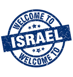 Welcome to israel blue stamp vector