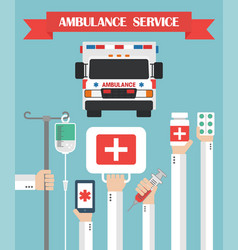 ambulance service flat background with hand vector image vector image