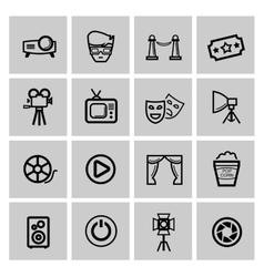black movie icon set vector image