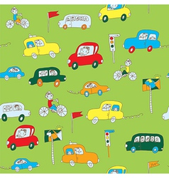 Kid in the car seamless pattern vector