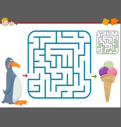 maze leisure game with penguin vector image