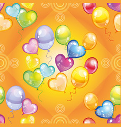 pattern with colorful balloons on green background vector image vector image