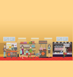 people making purchases flat vector image