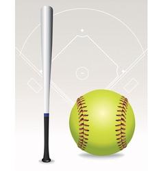softball and bat vector image vector image
