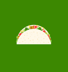 beef taco icon mexican food flat design vector image