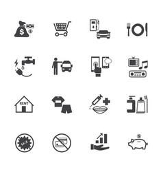 business and financial icons set debt concept vector image