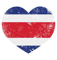 Costa Rica retro heart shaped flag vector image