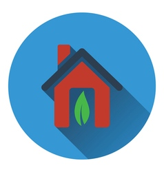 Ecological home with leaf icon vector image vector image