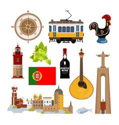 historical symbols of portugal lissabon vector image